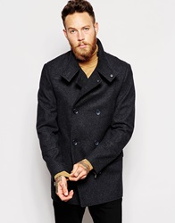 Asos Wool Peacoat With Funnel Neck In Dark Grey