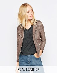 Doma Leather Moto Jacket With Zipper Charcoalgrey