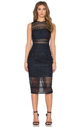 Nicholas Braided Lace Fitted Bandeau Dress Navy