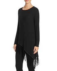 Red Haute Asymmetric Fringe Tunic Black