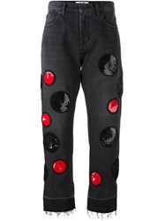 Msgm Sequin Patch Cropped Jeans Grey