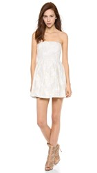 Twelfth St. By Cynthia Vincent Pleated Strapless Mini Dress Beige