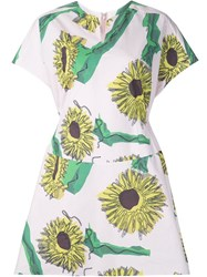 Julien David Sunflower Print Day Dress Pink And Purple