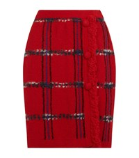 Boutique Moschino Button Front Checked Knit Skirt Female Red