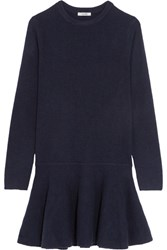 Ganni Mercer Ruffled Merino Wool Blend Mini Dress Midnight Blue