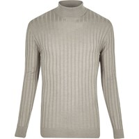 River Island Mens Grey Chunky Ribbed Roll Neck Jumper