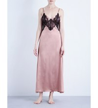 Nk Imode Gilda Voulez Vous Stretch Silk Satin Nightgown Cooper Black Lace