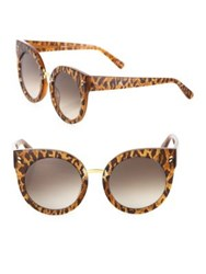 Stella Mccartney 51Mm Leopard Print Rounded Cat's Eye Sunglasses Black Brown