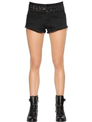 Diesel De Zalea Lace Up Cotton Denim Shorts