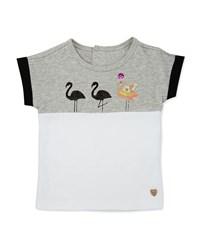 Catimini Cotton Flamingo Colorblock Top Gray