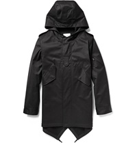Public School Hooded Cotton Canvas Fishtail Parka Black