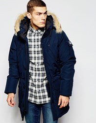 Penfield Shower Proof Hoosac Parka With Faux Fur Trim Navy