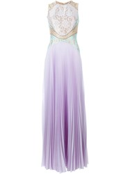 Christopher Kane Floral Lace Pleated Gown Pink And Purple