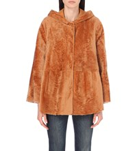 Drome Hooded Shearling And Suede Poncho Apricot