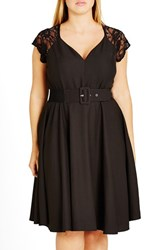 City Chic Plus Size Women's Lace Sleeve Belted Fit And Flare Dress