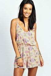 Boohoo Neon Paisley Strappy Cross Front Playsuit Multi