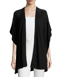 Neiman Marcus Studded Open Front Draped Vest Black