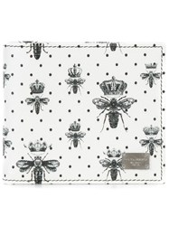 Dolce And Gabbana Crown Bee Print Wallet White