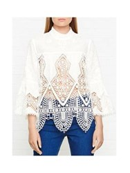 Anna Sui Victorian Embroidered Lace Top White
