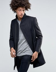 Minimum Allston Slim Wool Overcoat Assymetric Zip And Quilted Lining Charcoal Grey