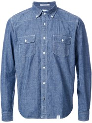 Bedwin And The Heartbreakers Contrast Stitching Denim Shirt Blue