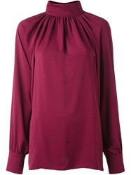 Sonia Rykiel By Open Back Ruched Blouse Pink And Purple