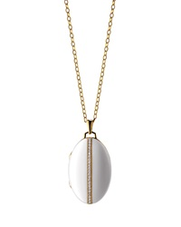 18K Gold Diamond Striped Ceramic Locket Necklace Monica Rich Kosann