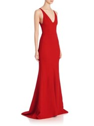 Narciso Rodriguez Textured Crepe V Neck Gown Fire