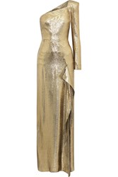 Roland Mouret Galaham One Shoulder Silk Blend Lame Gown Gold