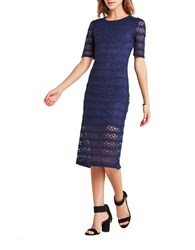 Bcbgeneration Laced Body Con Dress Deep Blue