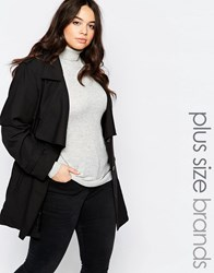 Brave Soul Plus Belted Trench Black