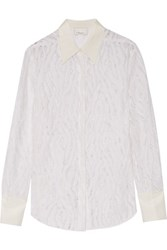 3.1 Phillip Lim Silk Trimmed Lace Shirt Off White