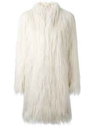 Giamba Faux Fur Coat Nude And Neutrals