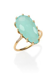 Suzanne Kalan Blue Chalcedony Diamond And 14K Yellow Gold Pear Ring Gold Blue