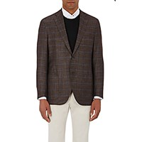 Luciano Barbera Men's Plaid Two Button Sportcoat Brown