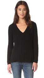 525 America Deep V Neck Variegated Rib Sweater Black