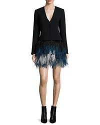 Elizabeth And James Brixton Long Sleeve Feather Dress Black Ombre Blue Black Blue
