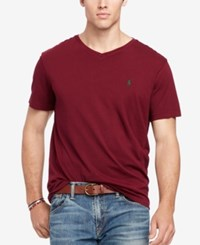 Polo Ralph Lauren Men's Big And Tall Jersey V Neck Classic Wine