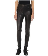 Yohji Yamamoto Stretch Leather Leggings Black Women's Casual Pants