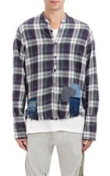 Greg Lauren Men's Plaid Flannel Shirt Multi