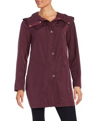 Ellen Tracy Snap Front Hooded Jacket Berry