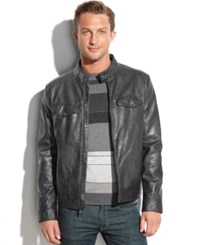 Kenneth Cole Four Pocket Faux Leather Moto Coal
