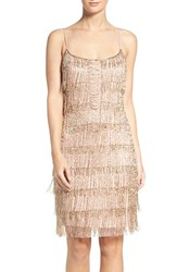 Adrianna Papell Women's Beaded Fringe Mesh Slipdress