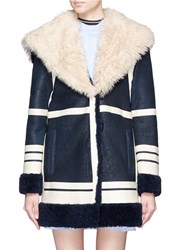 Cedric Charlier Fur Collar Sheepskin Shearling Coat Blue