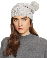 Aqua Embellished Slouchy Hat With Pom Pom Gray Clear Crystals