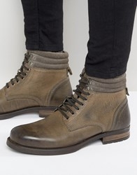 Asos Lace Up Boots In Grey Leather Grey