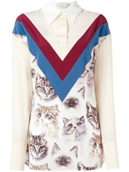 Stella Mccartney Cat Print Blouse Nude And Neutrals