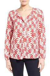 Women's Gibson Tie Neck Peasant Blouse Taupe Red Geo