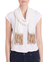 Collection 18 Knit Fringe Scarf White