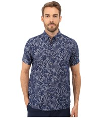 Ted Baker Subzero Short Sleeve Large Floral Linen Shirt Navy Men's Short Sleeve Button Up